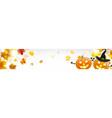horizontal banner with funny halloween pumpkins vector image