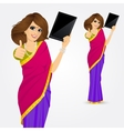 indian woman showing tablet screen vector image vector image