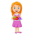 little girl holding a dish with fresh fruits vector image vector image
