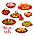 malaysian cuisine dinner menu icon with asian food vector image vector image
