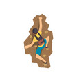 male climber climbing rock mountain vector image