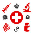 medical icons with medical equipment vector image vector image