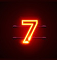 neon city font sign number 7 signboard seven vector image vector image