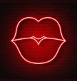 neon kiss lips vector image vector image