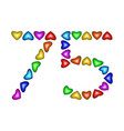number 75 seventy five of colorful hearts on white vector image vector image