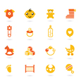 orange icons collection for baby vector image vector image