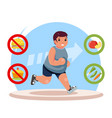 overweight body diet fat man character lose weight vector image vector image