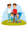 parents with kids avatars characters vector image