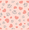paws and hearts seamless pattern vector image vector image
