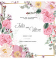 pink rose flowers wedding invitation card vector image vector image