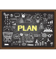 Plan on chalkboard vector image vector image
