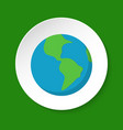 planet earth icon in flat style on round button vector image vector image