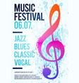 poster flyer music festival event with clef vector image vector image