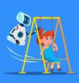robot swinging little girl on swing on playground vector image vector image