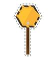 sign road hexagon caution yellow empty cut line vector image