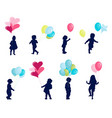 silhouettes - children vector image