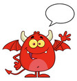 smiling red devil cartoon character waving vector image vector image