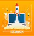 startup concept with element on yellow background vector image vector image
