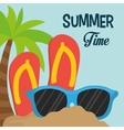 summer time flip flop sunglasses palm sand vector image vector image