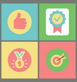 thumb up and medal stamp and target with arrow vector image vector image