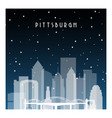 winter night in pittsburgh night city vector image vector image