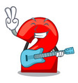 with guitar cartoon cake birthday candle number vector image