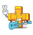with guitar retro plus sign addition symbol vector image