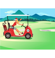 Woman driving a golf cart vector image