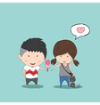 Boy heart-shaped Ice cream gives Girl and cat vector image