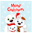1Christmas bear family greeting card vector image