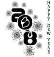 2018 happy new year simple writing black six vector image