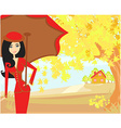 beautiful woman with umbrella vector image vector image