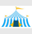 blue striped circus tent icon flat isolated vector image