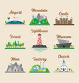 buildings and landscape in flat style graphic vector image