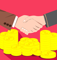 Businessmen shaking hands deal of money vector image vector image