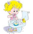 Child brushing teeth vector image