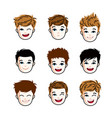 collection of boys faces expressing different vector image