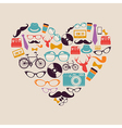 Colorful vintage hipsters love elements vector image vector image