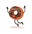 cute funny donut humanized dessert cartoon vector image vector image