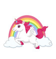 cute little pony unicorn with wings on clouds vector image vector image