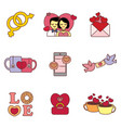cute valentine icons graphic vector image vector image