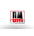 dm d m logo letters with red and black colors and vector image vector image