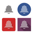 dotted icon bell in four variants with short vector image