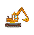 excavator construction machinery vector image