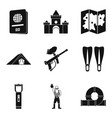 family trip icons set simple style vector image vector image
