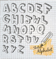 Hand Drawn 3D sketch alphabet vector image