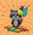 happy birthday card with cute raccoon vector image vector image