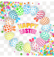 happy easter background with realistic decorated vector image vector image