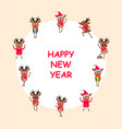 happy new year 2021 card set funny deers vector image vector image