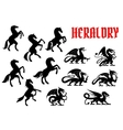 Heraldic mythical animals silhouette emblems vector image vector image